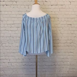 Tops - Light Blue 3/4 Sleeve Soft Blouse with Buttons